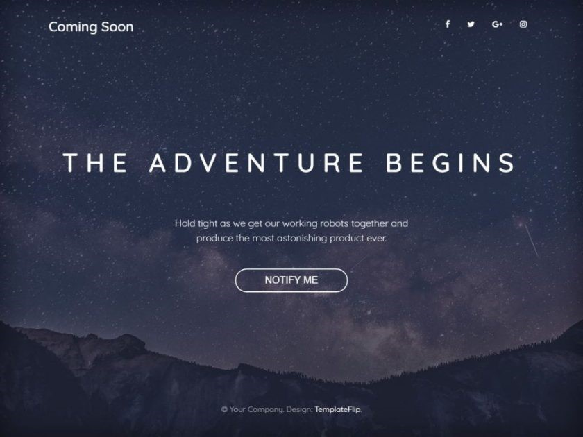 "Bootstrap 4 Template ""The Advanture Begins"""